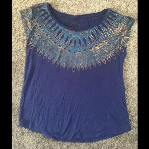 Lucky Brand Short Sleeve Embellished T-Shirt
